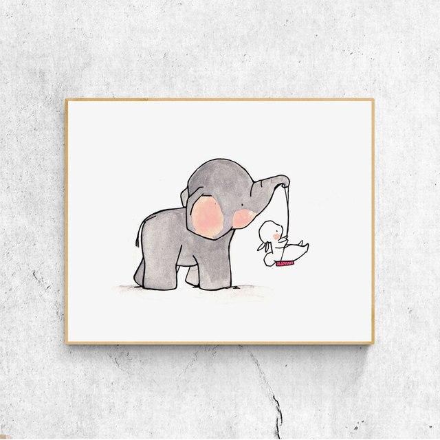 S Woodland Bunny Elephant Boy Nursery Prints Little Bedroom Decoration Child Wall Art Painting Home