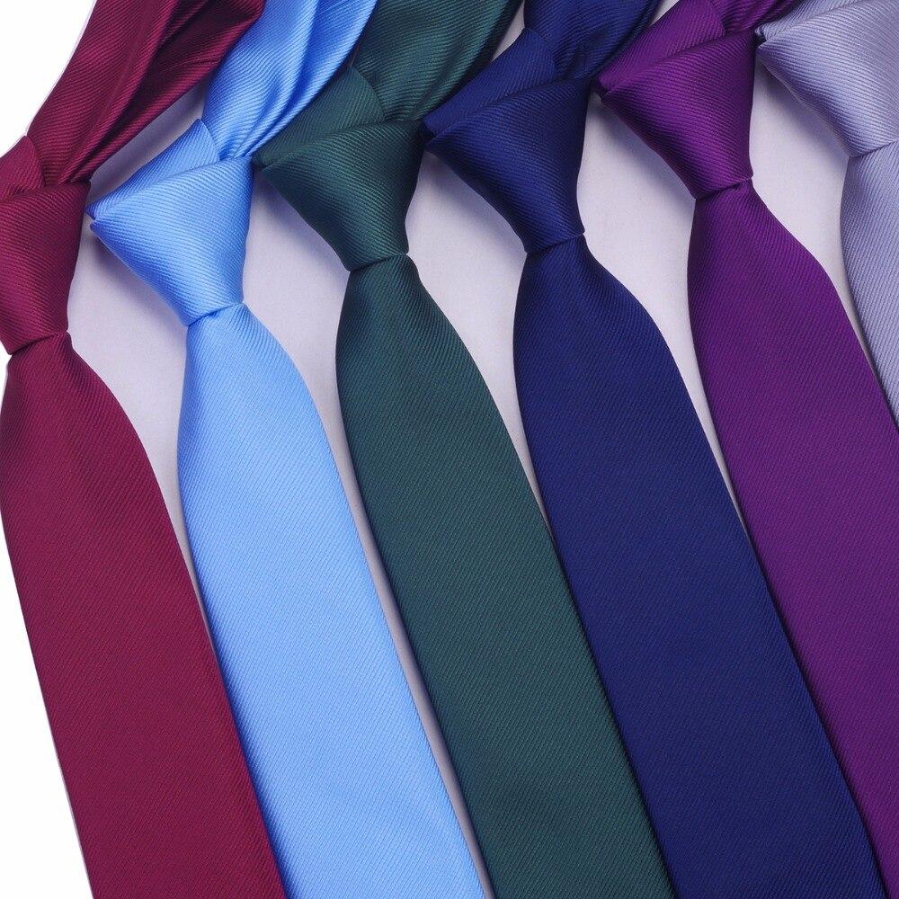 Ricnais Skinny Necktie Polyester Plain Ties For Men Wedding Suit Slim Classic Solid Color Neck Tie Casual Pure 6cm Red Tie