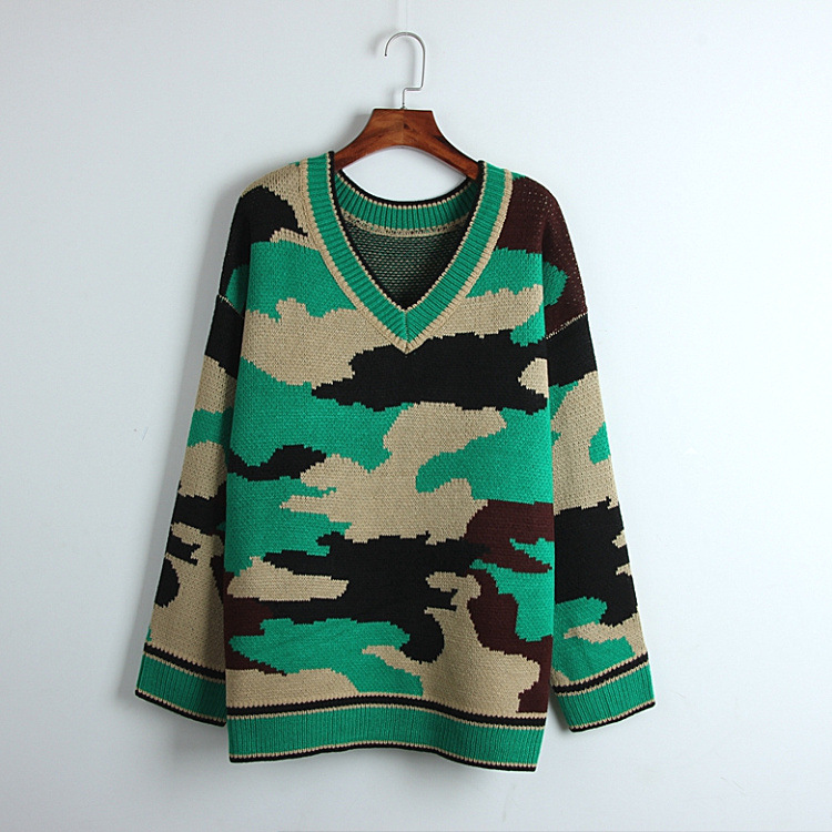Autumn 2018 Sweater Vintage Camouflage Knitted V-neck Loose Oversized Casual Sweaters Fashion 2018 Women Outwear Long Pullover