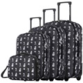 "DAVIDJONES  4 Piece Luggage Sets 20"" 24"" 28"" & cosmetic case carry-on suitcase vintage print women travel make-up bag"