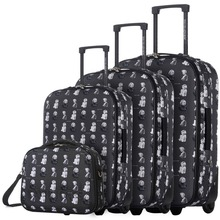 DAVIDJONES  4 Piece Luggage Sets 20″ 24″ 28″ & cosmetic case carry-on suitcase vintage print women travel make-up bag