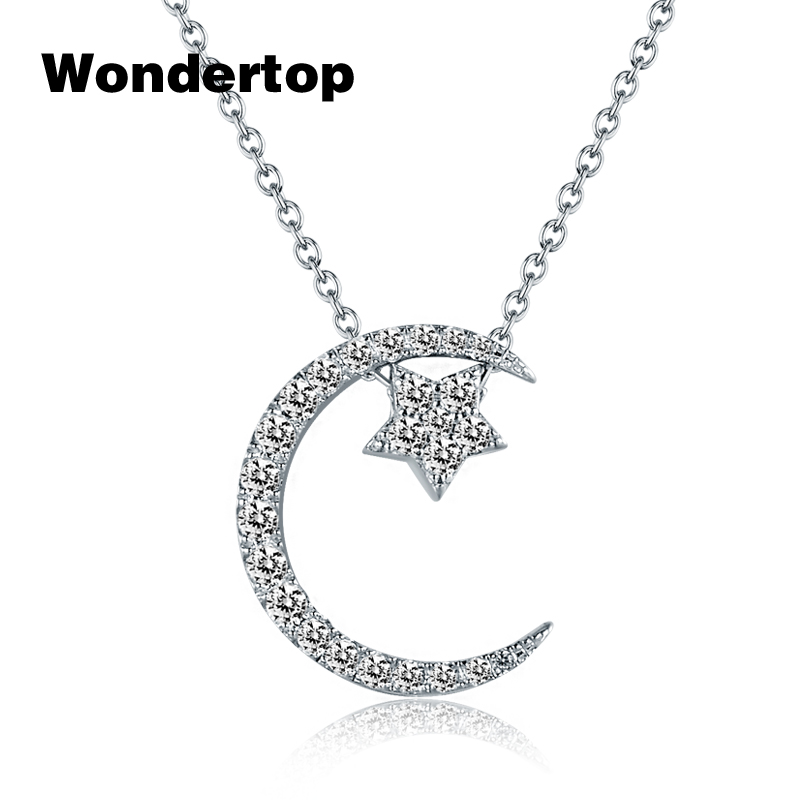 WONDERTOP Wonmen Necklace Authentic Sterling Silver Moon Star Pendant Necklace With Clear Cubic Zircon For Women Fine Jewelry