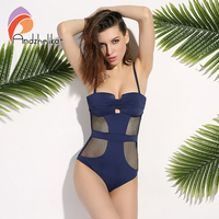 Andzhelika 2017 Newest One Piece Swimsuit Women Sexy Mesh Swimwear Hollow Out Bodysuit Bathing Suit Monokini