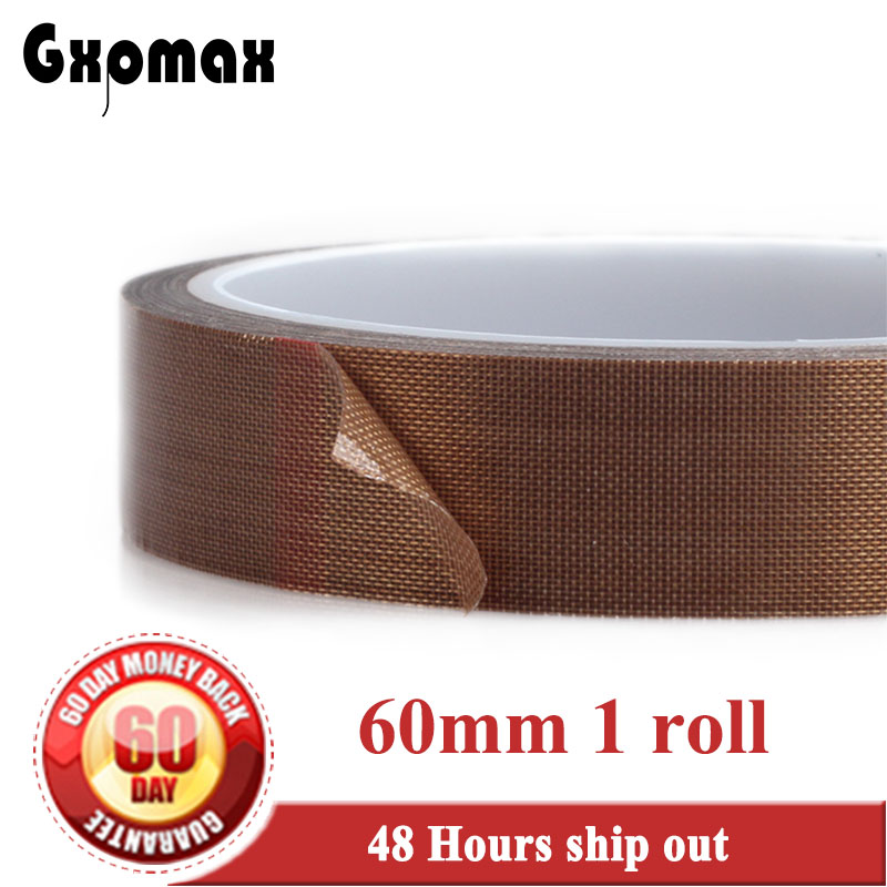 (60mm*10M*0.13mm) Single Adhesive PTFE Teflon Tape, High Temperature Resist up to 300C, Hot Appliance for Vaccum Sealing Cut 19mm 10m 0 13mm thick ptfe high temperature resist teflon tape insulating soldering cloth hot seal pads gasket