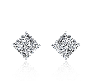 0 5ct Luxury Micro Paved Nscd Lovely Diamond Stud Earrings Engagement Women Sterling Silver Jewelry