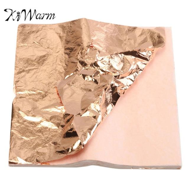 Kiwarm 100sheets Practical Purple Gold Copper Leaf Foil Paper Face