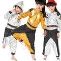 Novos Meninos Meninas Manga Comprida Brilhante Lantejoulas Com Capuz Outfits Crianças Modern Jazz Hip Hop Traje De Dança Top & Pant