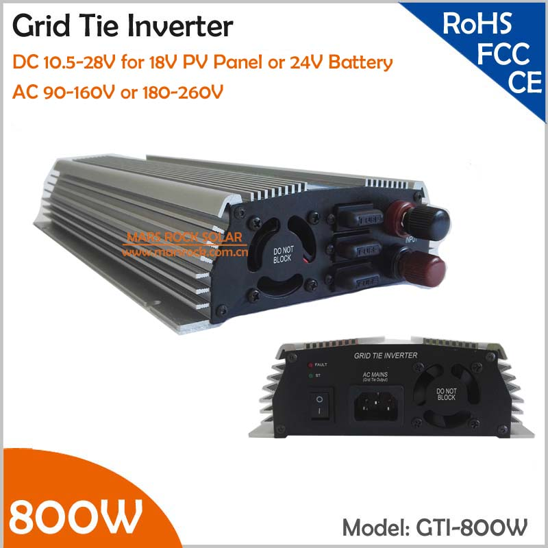 800W Grid Tie Micro Inverter for 18V solar panel or 24V battery, 10.5-28V DC to AC 110V/220V Pure Sine Wave Solar Inverter