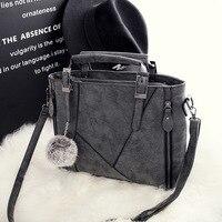 Vintage Nubuck Leather Female Top Handle Bags Winter Solid Large Women Bags Hair Ball Shoulder Bag