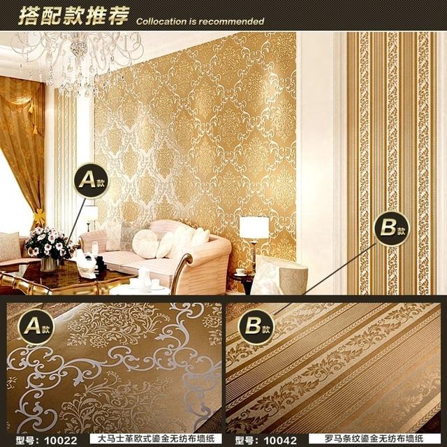 Gold Color Roman Stripe Wallpaper For Living Room Bedroom European