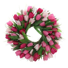 45cm Artificial Silk Tulip Flower Wood Rattan Wreath DIY Crafts Wedding Christmas Front Door Decoration Wall Hanging
