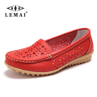 LEMAI 2017 Large size genuine leather Women shoes mother shoes girls fashion casual shoes comfortable breathable women flats