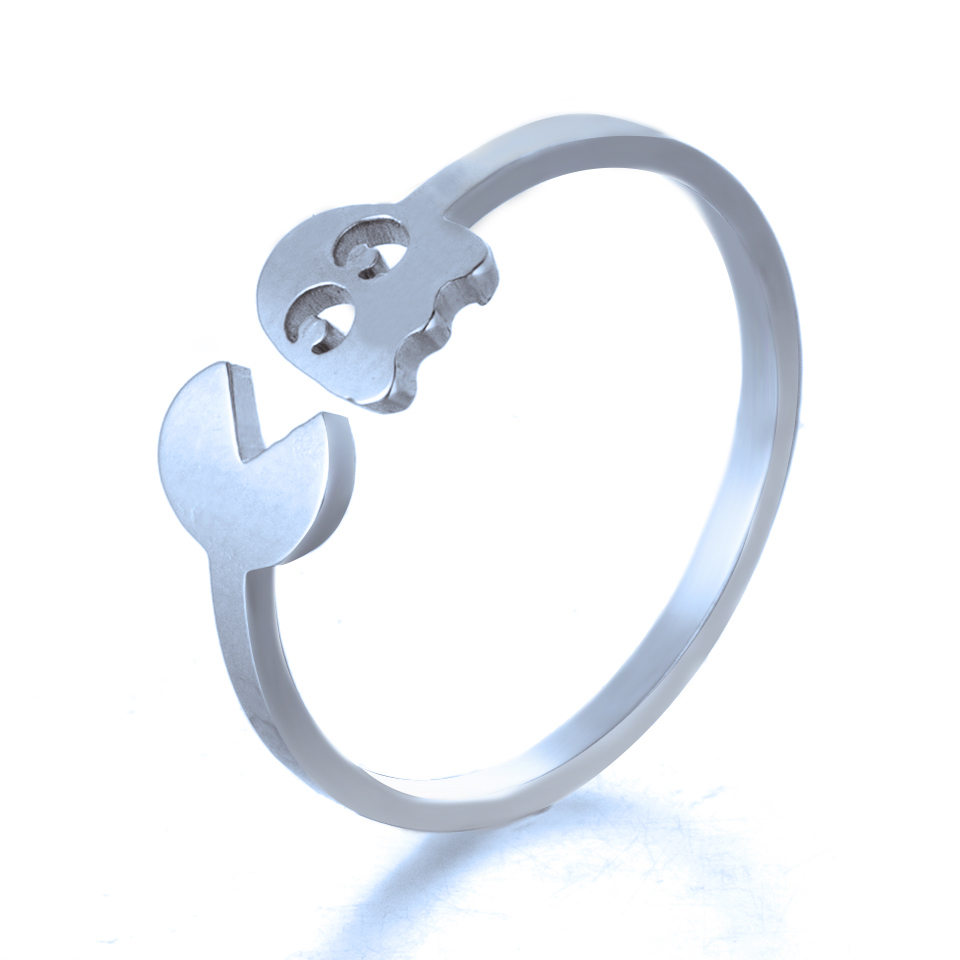 84471f1e6 Classic game Pac-Man Ring 2019 Fashion Golden Silver Stainless Steel Open  Rings For Women