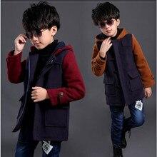 2015 мода зимние мальчики шерстяные куртки лоскутное длинными рукавами с капюшоном сгустите теплый средней длины — длинные детей шерстяное пальто горячая распродажа