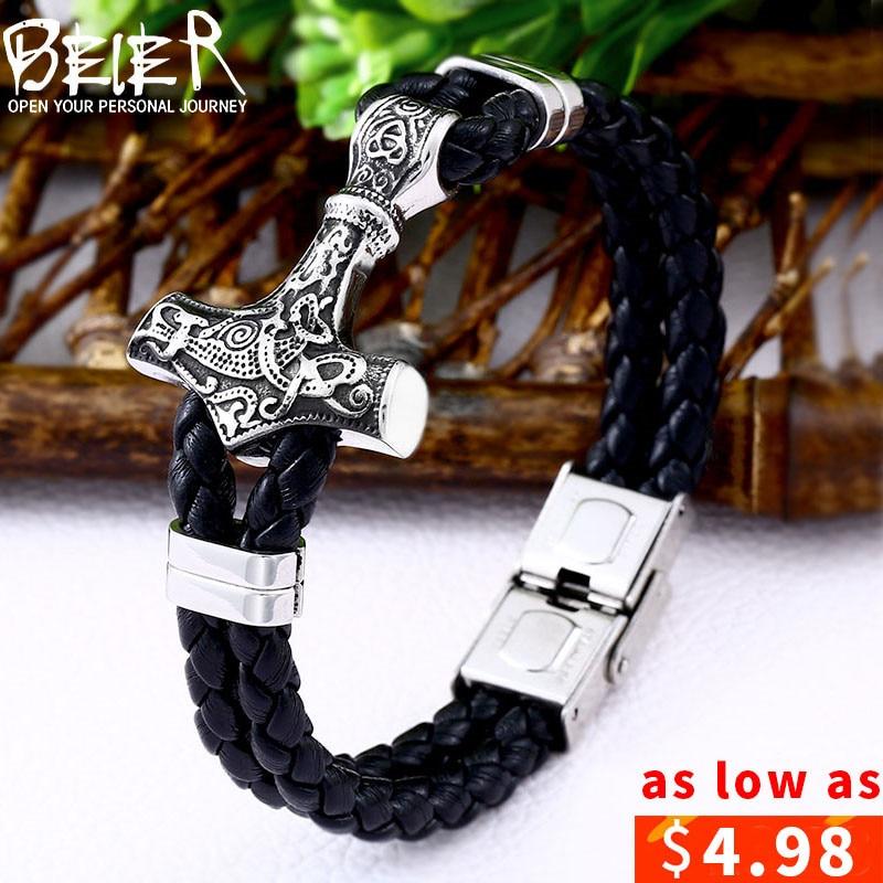 Beier 316L Stainless Steel dropshipping 1pcs thor's hammer mjolnir bracelet viking scandinavian norse viking bracelet Men gift цена