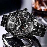 CAINO Элитный бренд Для мужчин армии военные часы Для мужчин кварцевые Дата часы человек полный Нержавеющаясталь спортивные наручные часы