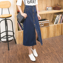 A-line Denim Long Skirt Women Summer Style New Jeans skirt,fashion England Style Denim Maxi Skirt Girls women's Clothing TT845