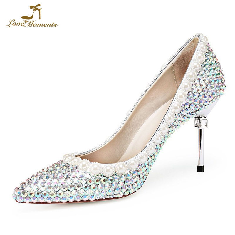 15d77476994 New Luxury Crystal Wedding shoes Pearl Pointed ToeThin Heel Rhinestone High  shoes Bridal Party dress shoes