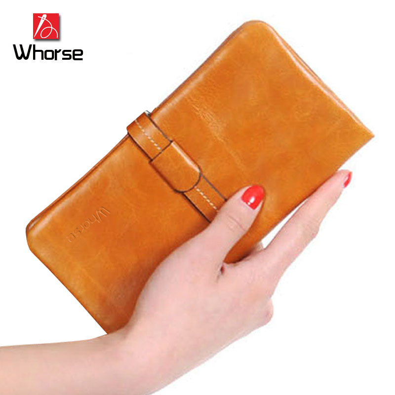 [WHORSE] Brand Logo Large Genuine Cowhide Leather Women Wallets Vintage Long Female Woman Wallet Ladies Purses Purse Clutch famous brand 2016 genuine leather women men long wallet khaki black purple for ladies purse solid woman man large burse yi235