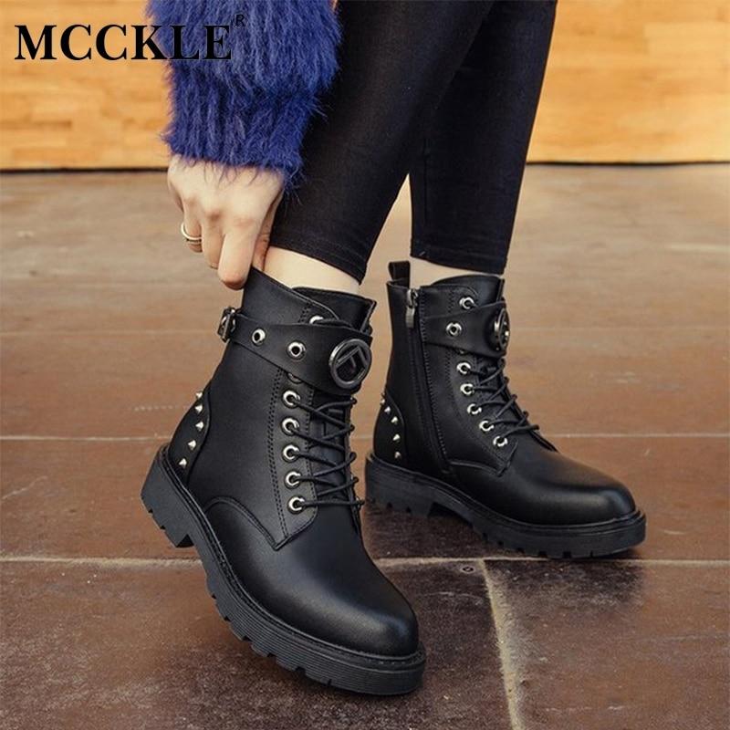 Dames Boucle Black Épais Plate Talon Femmes Mode De Cheville Automne Partie Up Mcckle forme Bottes Chaussures Sangle Rivets Dentelle n87CWWg