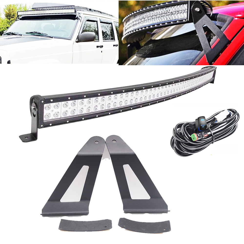 Hot Sale 50inch 288w Curved Led Light Bar W Dt Connector Wiring 2001 Jeep Cherokee Harness Kit 2pcs Mounting Brackets For 1984 Xj