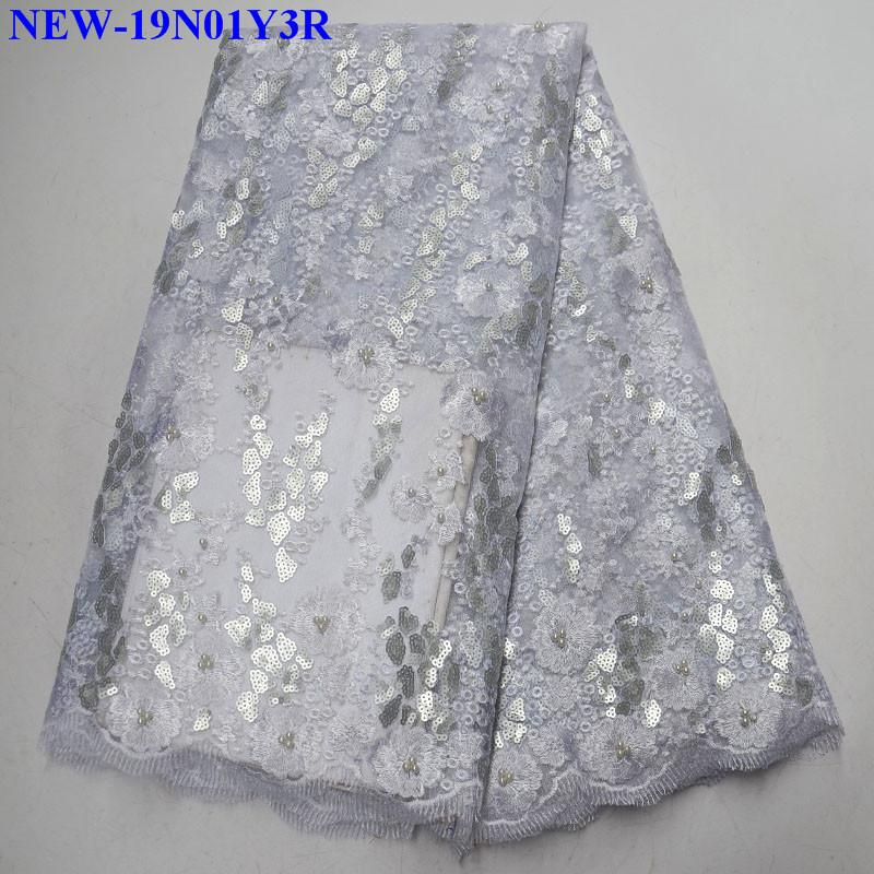 Lace Home & Garden Luxury High Quality African Sequins Bridal Lace Fabric 2019 African Beaded Tulle Lace Fabric For Wedding Dress 5 Yards Bza04 Durable Modeling