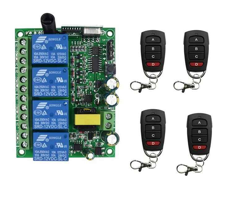 สมาร์ท 220 โวลต์ 4CH RF รีโมทคอนโทรลไร้สาย/วิทยุรีโมทเครื่องรับสัญญาณโรงรถประตู 433 เมกะเฮิร์ตซ์ 315 เมกะเฮิร์ตซ์