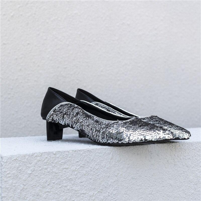 Pointu Chaussures Cuir Femme 2019 Nouvelle Arrivée Morazora Véritable En Mode Pompes Paillettes D'été Argent Tissu Casual Femmes Bout zVGMpSqU