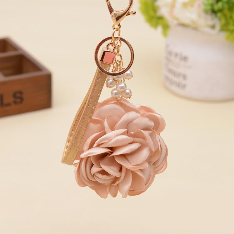 Felyskep Camellia Rose Keychain Women Romantic Bag Pendant Charm Flowers Key Chain Buckle Key Ring Holder 075WA