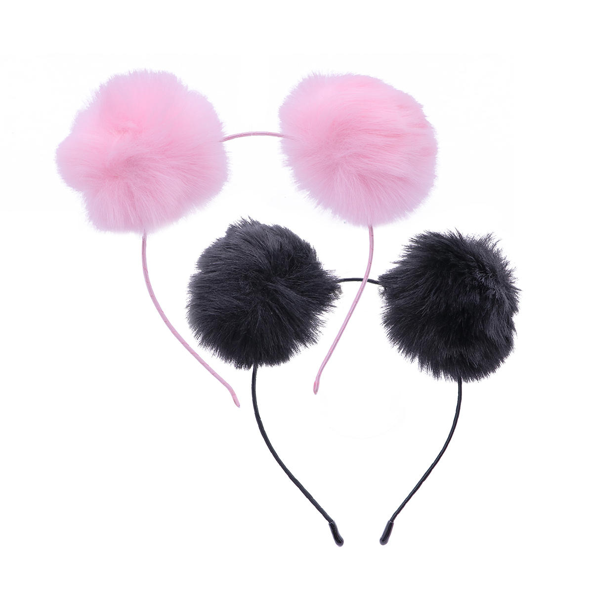 Enthusiastic 2pcs Cute Headband Cat Ears Pompom Ball Fluffy Ball Hair Accessories Hair Loop Headband For Daily Holiday Performance Party Buy One Get One Free
