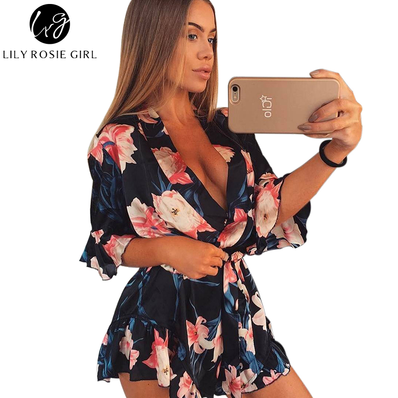 Boho Red Floral Print Deep V Neck Women Satin Playsuits Rompers Elegant Summer Beach Sexy Short Jumpsuit Sashes Overalls girl