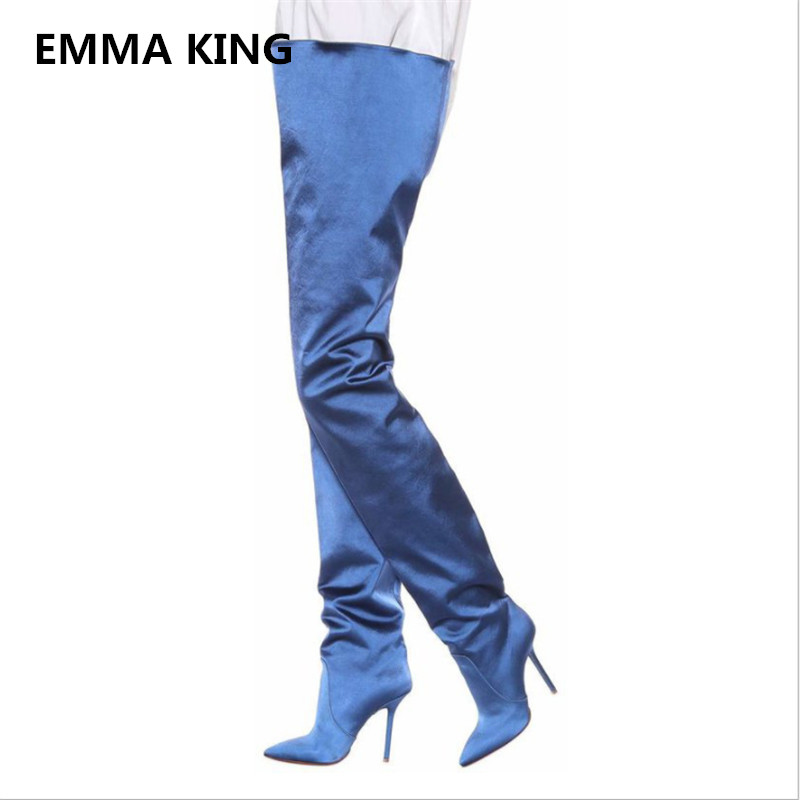 EMMA KING New Navy Blue Pants Thigh High Boots Women Pointed Sexy Stilettos Sock Booties High Heel Shoes Women Big Size 35-46 inc new navy blue women s size 16 gathered hem linen capri cropped pants $69