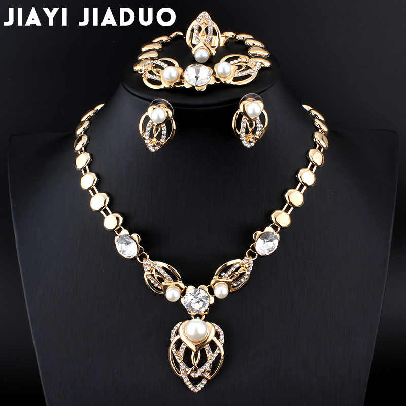 jiayijiaduo 2017 Imitation pearls Jewelry Set Women Gold Color Wedding Leaves African bead Necklace Earrings Bracelet Ring Sets