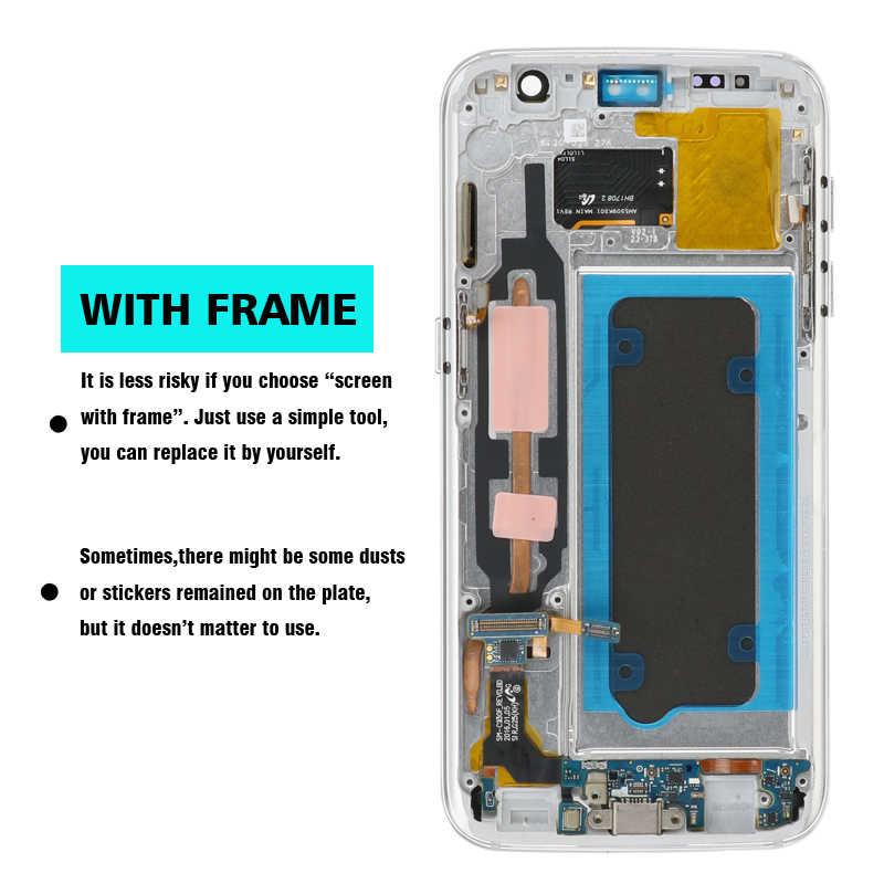 """الأصلي 5.1 """"مع حرق و الظل LCD مع الإطار لسامسونج غالاكسي S7 G930 G930F عرض تعمل باللمس محول الأرقام الجمعية"""