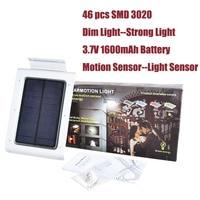 Waterdichte Outdoor LED Solar Light Motion Sensor Tuin Beveiliging Licht Dim Licht 46 stks SMD 3020 400 Lumen Automatische op/off