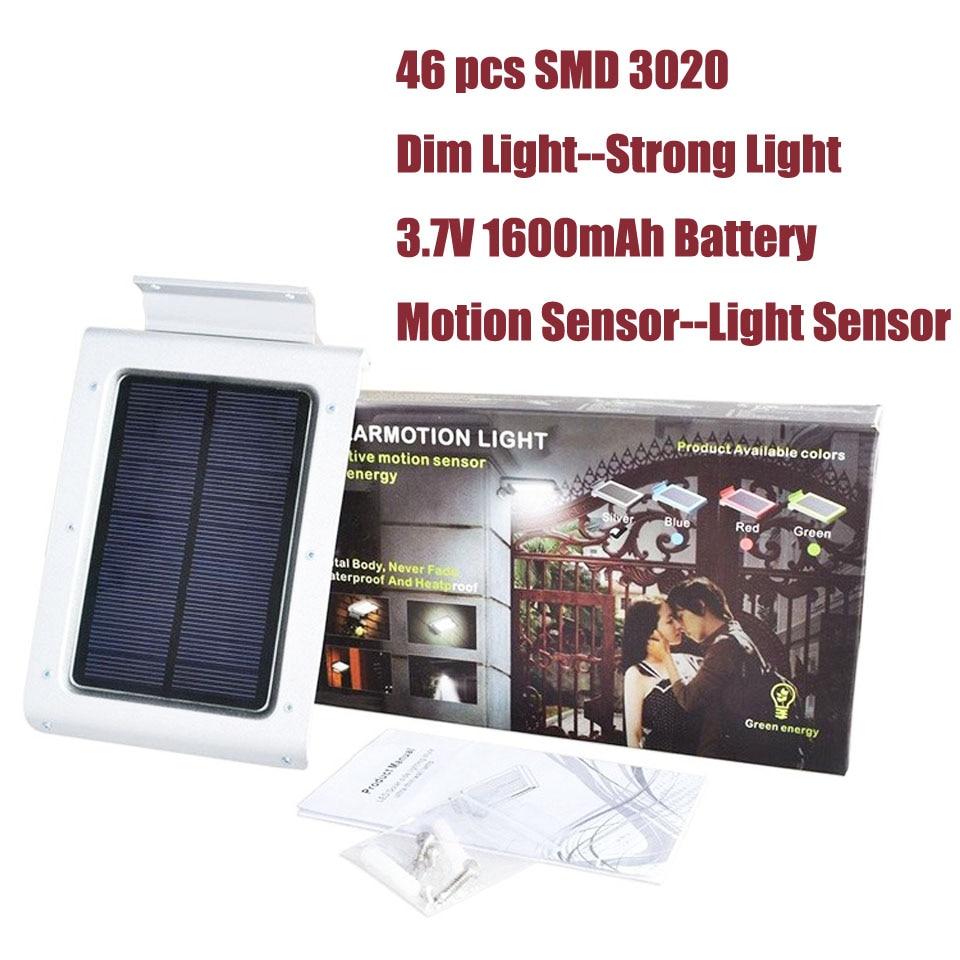 Waterproof Outdoor LED Solar Light Motion Sensor Garden Security Light Dim Light 46pcs SMD 3020 400 Lumens Automatic on/off