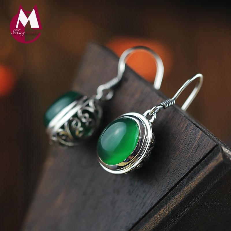 12MM Natural Stone Gem Jade Earrings 925 Sterling Silver Drop Earrings For Women Jewelry Vintage Hollow Flower Earrings SE08