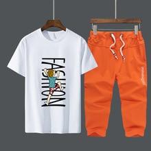 OLOEY из двух частей комплекта мужской одежды летом с коротким рукавом футболки тренировочные брюки