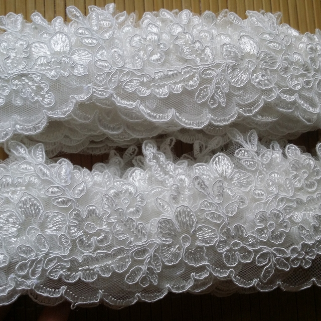 e77278e995bfa US $15.68 5% OFF|5CM delicate scallop edged tulle mesh lace trim  embroidered ivory lace trimming with cording good for bridal veil and  dress-in Lace ...