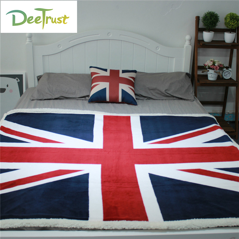 New Wool UK/US Flag Blanket Coral Flannel Both Sided Blanket Home Decoration Plane Travel Christmas Gift Cobertor