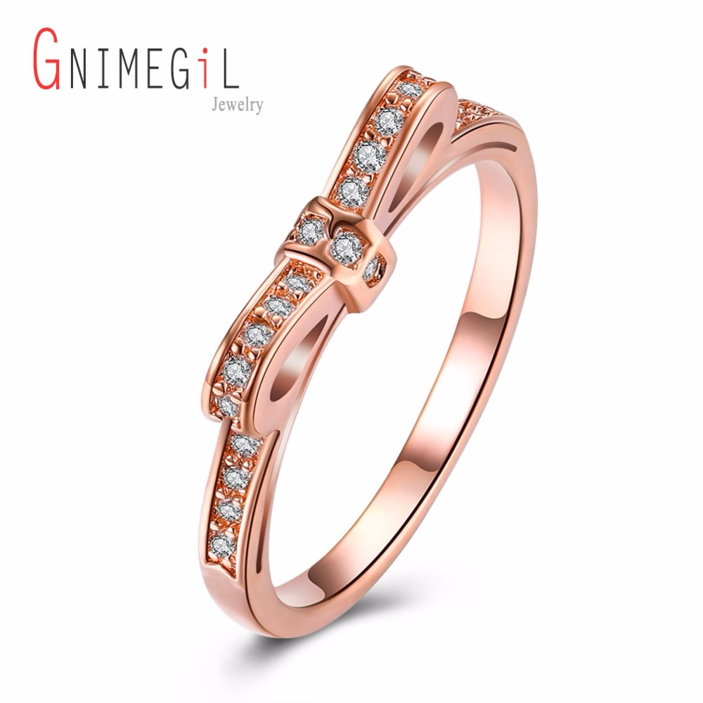 GNIMEGIL Brand Jewelry Women Rings Geometric White Cubic Zirconia Prong Setting Round Finger Ring AKR200 for Ladies Promotion