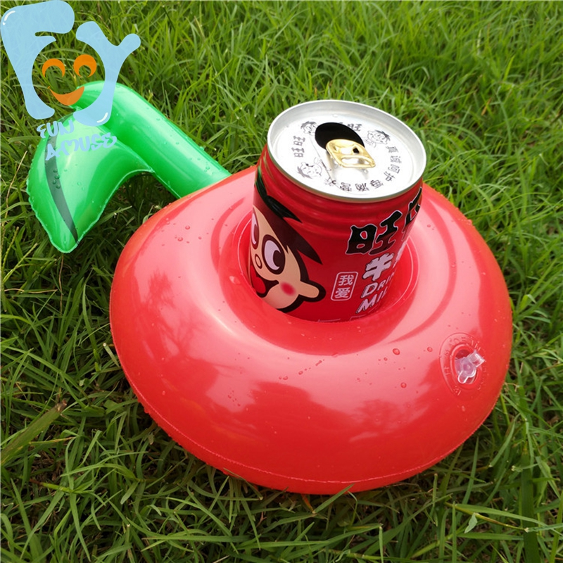 12pcs Per Lot 30cm Inflatable Apple Drink Holder Beer Can Cup Holder Pool Float Water Fun Cartoon Toy