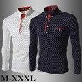 2016 новинка джентльмен горошек стиль мужчины рубашка свободного покроя с длинным рукавом хлопчатобумажную рубашку м-xxxl