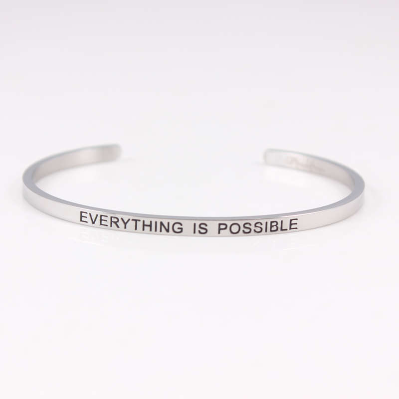 itm bangle quote steel bracelet stainless love men message open women cuff stamped
