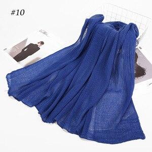 Image 5 - Inverno Delle Donne Piega Nube di Cotone Hijab Viscosa Hijab Scialle Musulmano Foulard Turbante Arabo Hui di Colore Solido Sgualcito Sciarpa Dellinvolucro