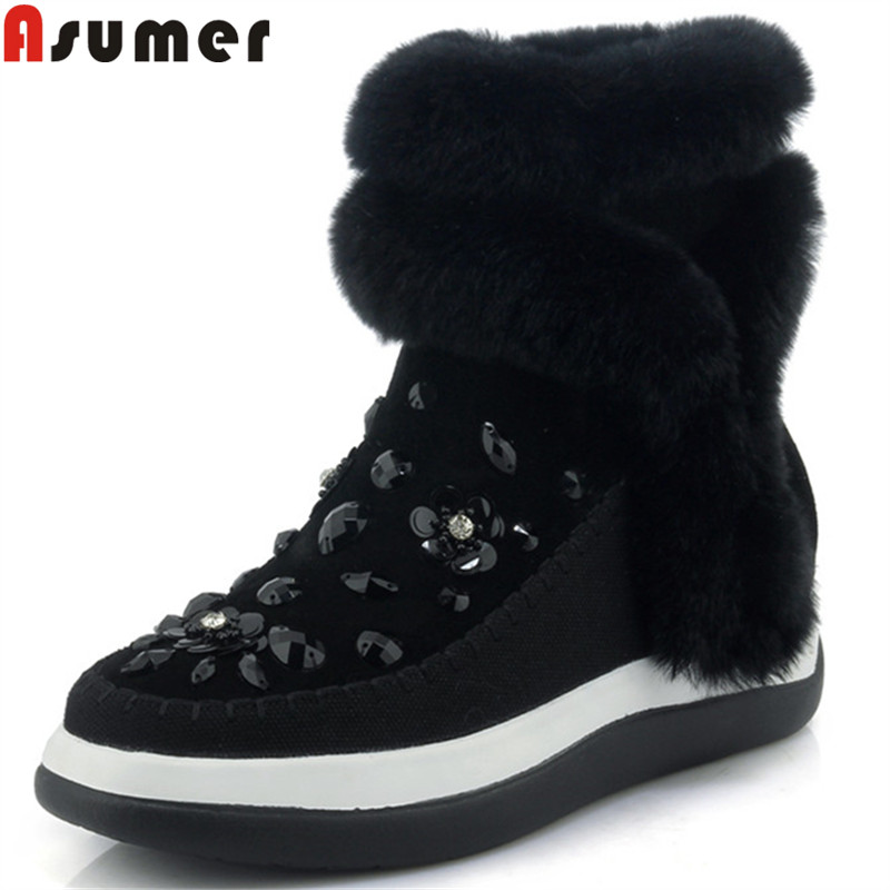 ASUMER black fashion hot sale new ankle boots for women zip suede leather boots comfortable fur keep warm snow boots women 2016 hot sale women australia snow boots fashion ankle boots 100