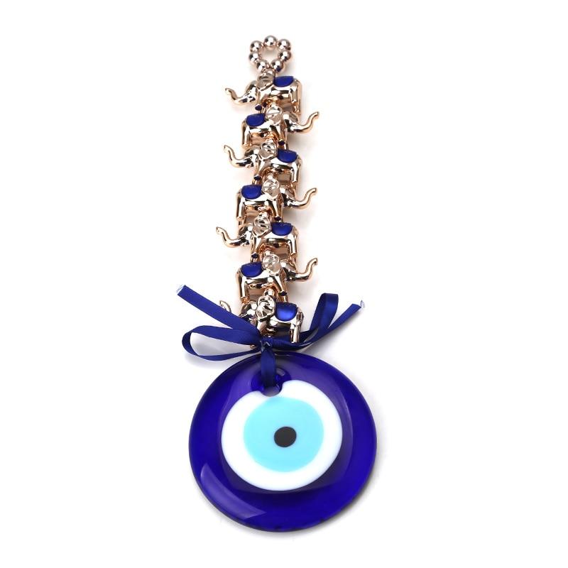 1 Pc Türkei Blue Evil Eye 7 Gold Elefanten Schlüssel Kette 8 Cm Evileye Glas Charms Anhänger Wand Hängen Für Frauen Diy Geschenk Zu Familie Wir Nehmen Kunden Als Unsere GöTter