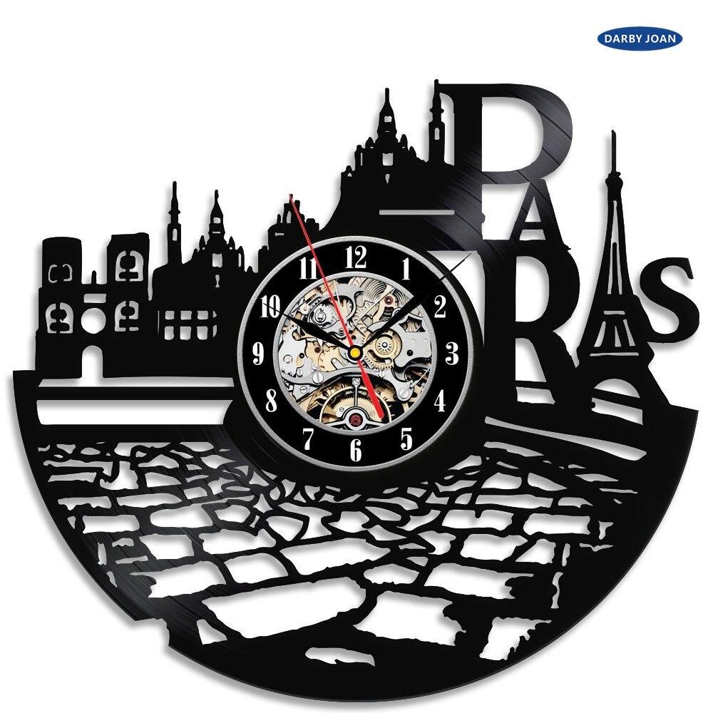 Decoration De Chambre Theme Paris €16.46 57% de réduction france paris ville thème vinyle horloge murale  chambre décoration la crosse cadran vision vinyl wall clock wall clock wall