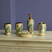 Five pieces of American exquisite porcelain ornaments Green Peacock bathroom toiletries handicrafts