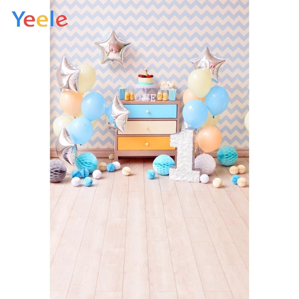 Yeele Chevrons Wall Balloons Baby 1st Birthday Cake Portrait Photography Backgrounds Photographic Backdrops For Photo Studio